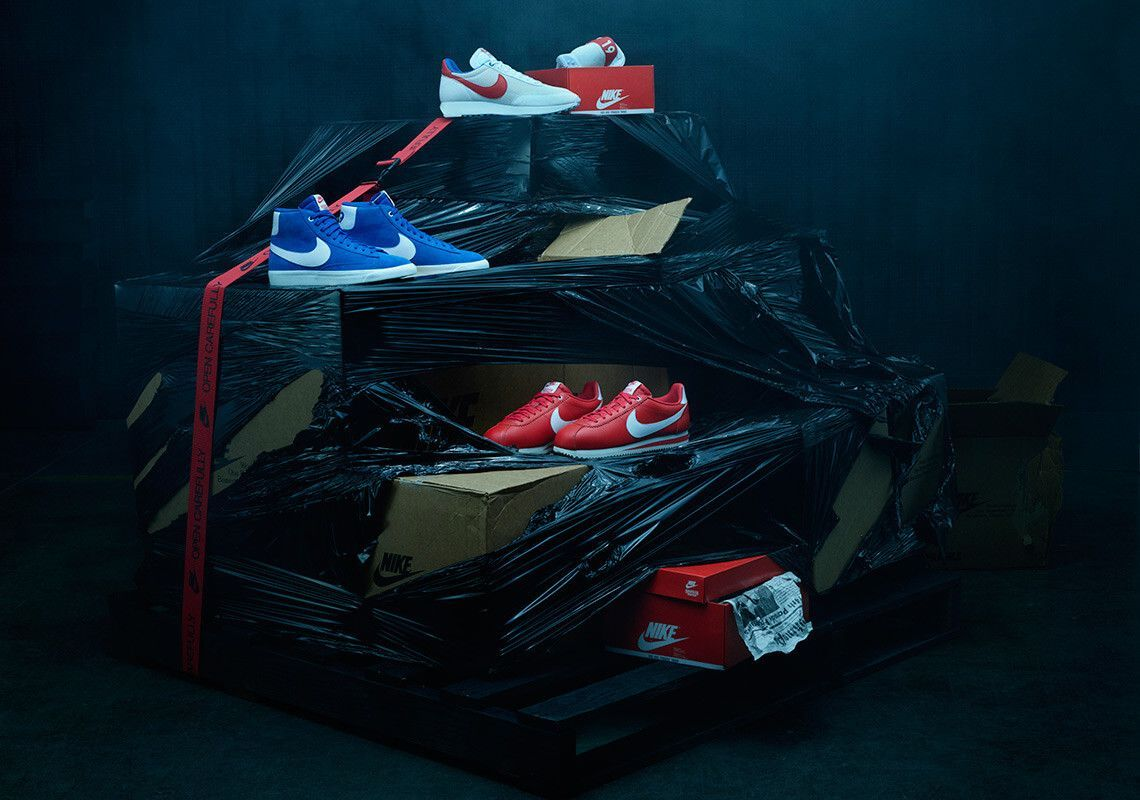 stranger things nike og pack navy red independence day shoes