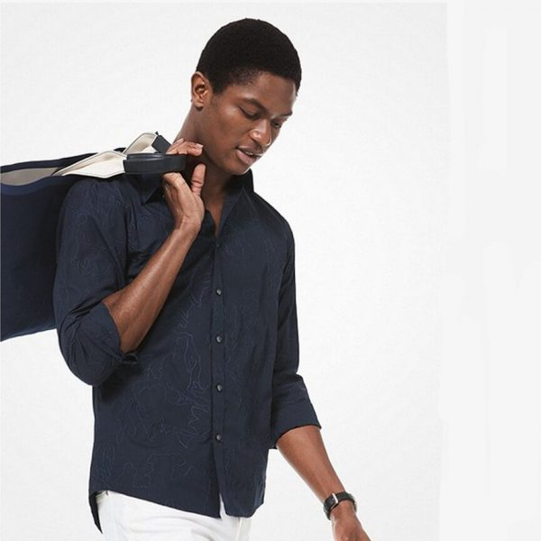 Michael Kors Slim Fit Embroidered Cotton Shirt