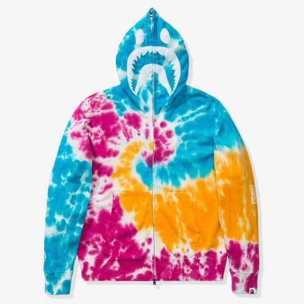 BAPE TIE DYE SHARK WIDE FULL ZIP HOODIE 1