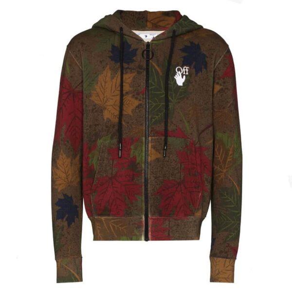 Off White leaf print cotton hoodie
