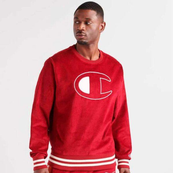 champion corduroy long sleeve crewneck sweatshirt