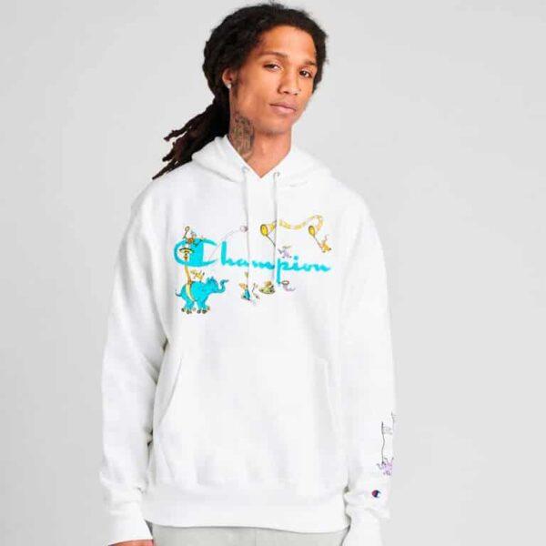 champion dr seuss reverse weave pullover hoodie model 2