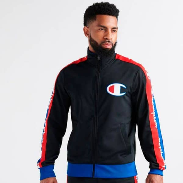 champion track jacket with taping