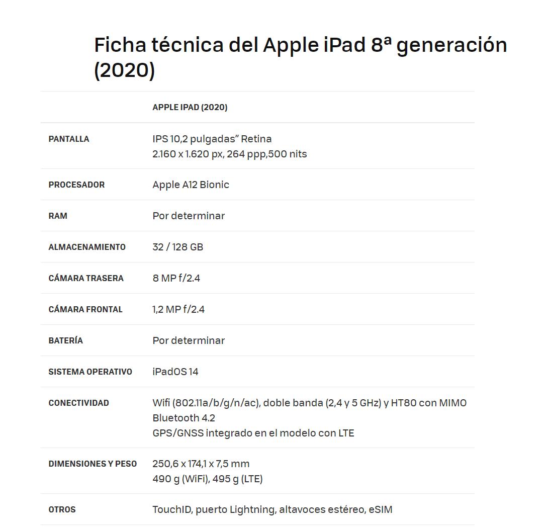 ipad 8 generacion 6