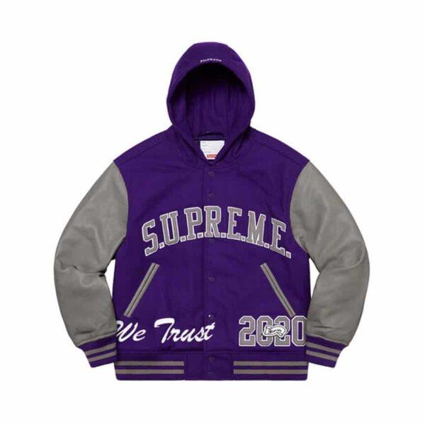 supreme king hooded varsity jacket 1