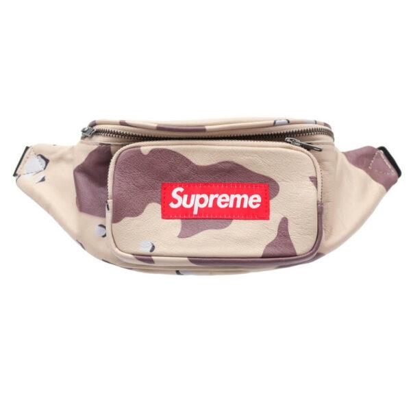 supreme leather waist bag desert camo